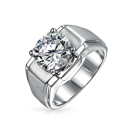 Bling Jewelry 6CT Round Brilliant Cut Solitaire AAA CZ Mens Engagement Wedding Ring Wide Band Silver Plated Brass Matte Brush Finish