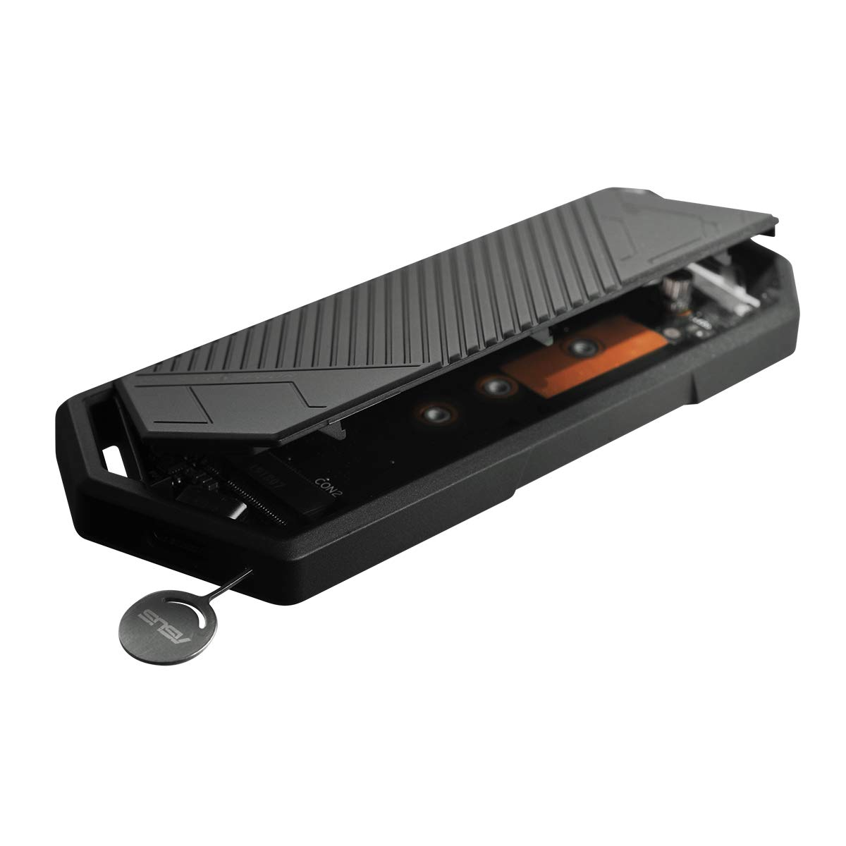 Caja de SSD M.2 NVMe ASUS ROG Strix Arion USB3.2 Gen. 2 de Tipo C 10 Gbps, Cables USB-C a C y USB-C a A, instalaci/ón sin Destornillador, Almohadillas t/érmicas, Compatible con PCIe