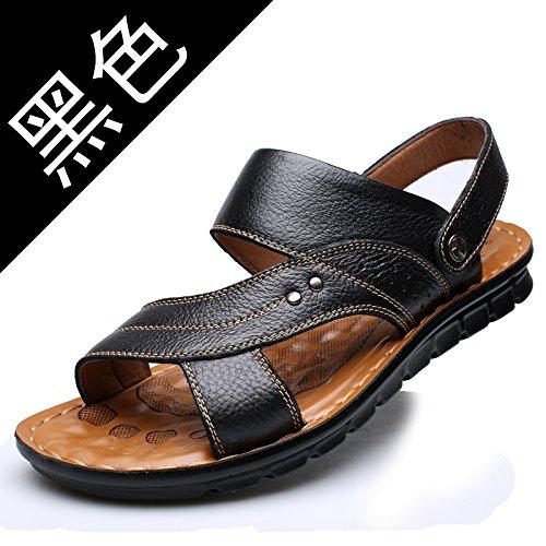 Xing Lin Sandalias De Hombre Zapatillas Para Hombres Verano Chanclas Sandalias Sandalias Verano Marea Suave Masaje Ocio Inferior Antideslizante Zapatos De Cuero black