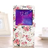 Note 4 Case, Galaxy Note 4 Case, StarCity ® Samsung Galaxy Note 4 Case [Smart Window View] [Stand Feature] - Premium Slim Flip Cover Folio Case with Magnetic Closure for Samsung Galaxy Note 4 (Flip View Series_Flower Rose)