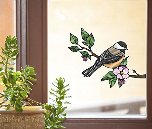 - Bird - Chickadee with Apple Blossom - Stained Glass Style See-Through Vinyl Window Decal - Copyright 2015 Yadda-Yadda Design Co. (Size Choice) (MD 6