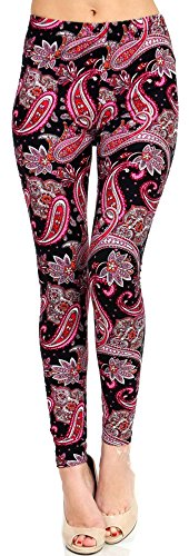 Lush Moda Extra Soft Leggings with Designs- Variety of Prints (Paisley Print Pant)