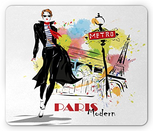 Girls Mouse Pad by Lunarable, Aesthetic Fashion Woman in Clothing Walking in Paris Streets Urban City Life Theme, Standard Size Rectangle Non-Slip Rubber Mousepad, - Aesthetic Paris