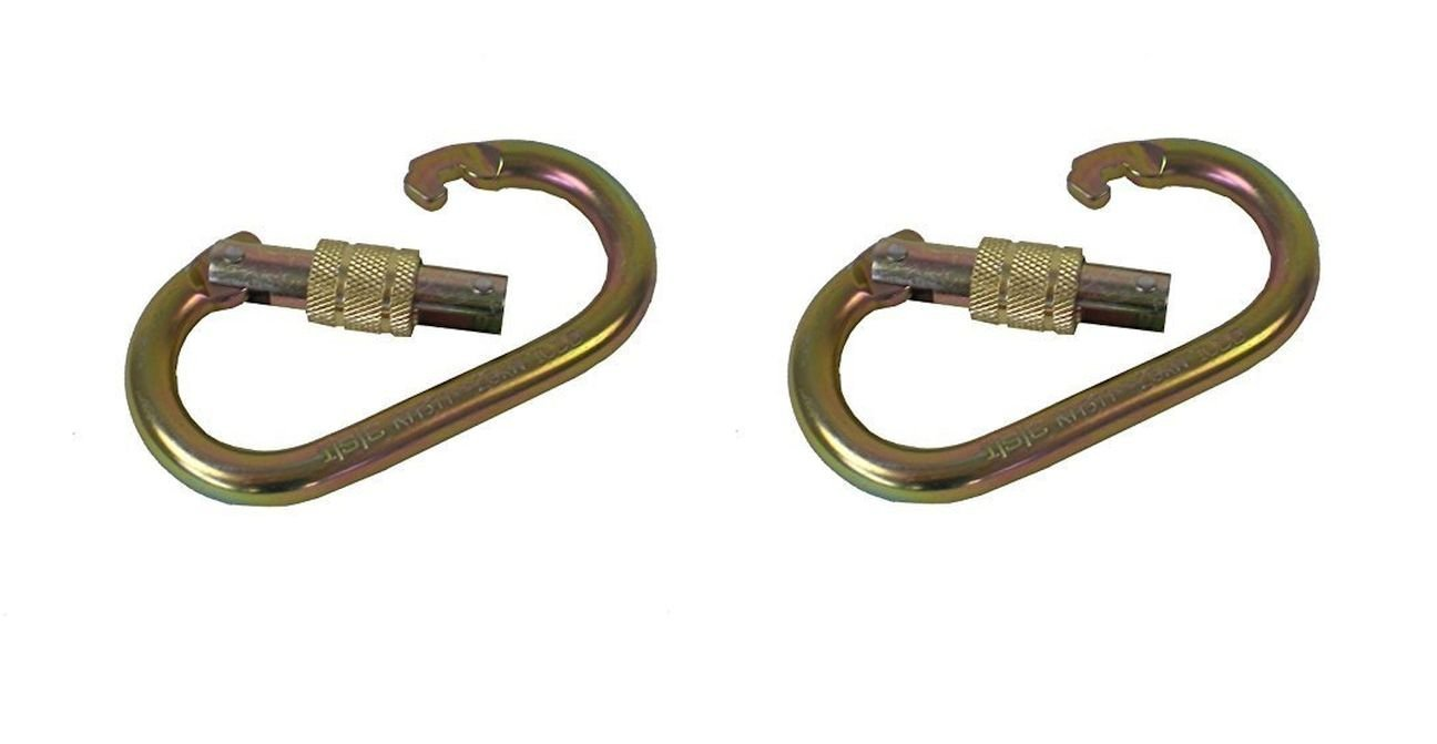 Portable Winch PCA-1276X2 Steel Oval Locking Carabiner - Pack of 2