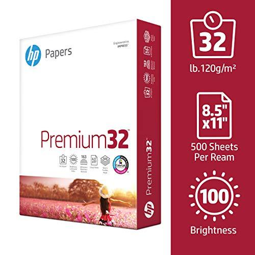 HP Printer Paper, Premium32, 8.5x11, Letter, 32lb Paper, 100 Bright - 1 Ream / 500 Sheets - Presentation Paper (113100R)