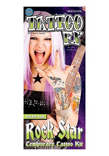 Loftus International Tinsley Rock Star Sold Our Souls 6Pc Temporary Tattoo FX Costume Kit, 11.75'' Novelty Item -