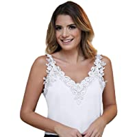 Women Sexy Lace Trim Camisole V Neck Spaghetti Strap Tank Top Sleeveless Basic Slim Fit T Shirt