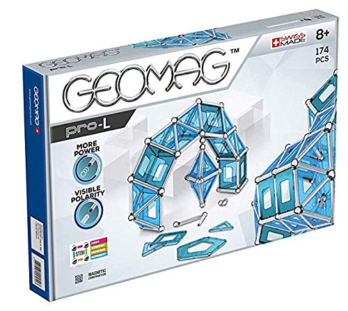 Geomag Pro-L Kit - 174 Piece Magnetic Construction - Toy Magnetic Geomag