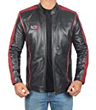 Mass Effect 3 N7 Mens Motorcycle Jacket - Cafe Racer Black Leather Jacket for Men