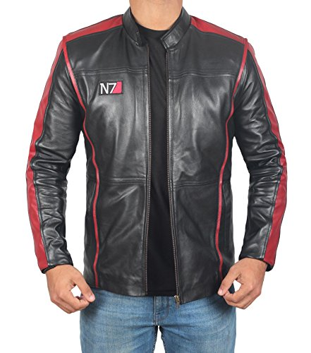 Mass Effect 3 N7 Game Black Cafe Racer Motorcycle Genuine Leather Jacket for Men (L, Black)