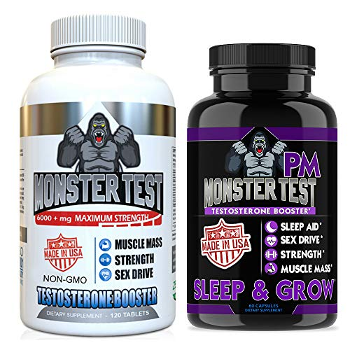 Angry Supplements Testosterone Booster for Men (2 Pack), Monster Test (120 Tablets), Monster PM (60 Capsules) Sleep Aid, Builds Muscle Mass, Both Boost Energy & Sex Drive, All Natural, Made in USA (Best Muscle Building Testosterone Supplement)