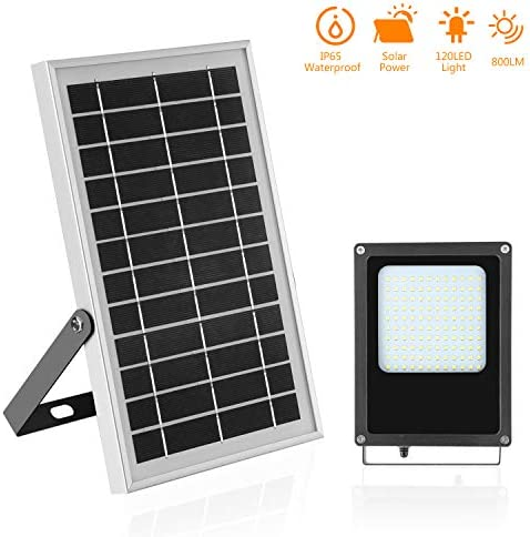 Solar Flood Lights Outdoor Solar Powered Led Floodlights Light Sensor 7.4 x11.4 6V 6W Solar Panels with 800LM 6500K 120 LEDs Switch on Off Lights for Shed,Billboard,Garden,Patio