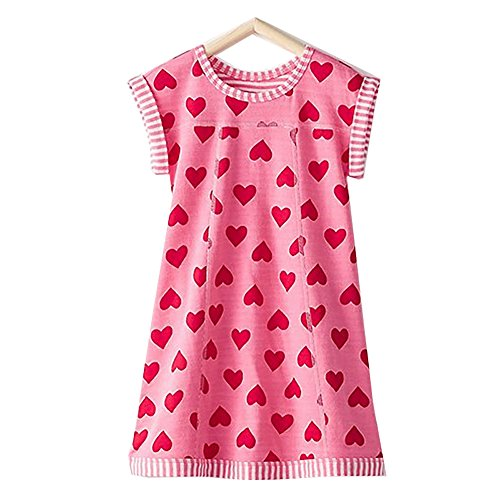 VIKITA Girls Summer Pink Heart Print Sundress Short Sleeve Casual Cotton Dress MS0320 8T