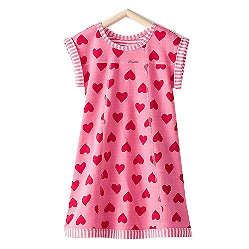 Clothes Pink Hearts - VIKITA Girls Summer Pink Heart Print Sundress Short Sleeve Casual Cotton Dress MS0320 8T