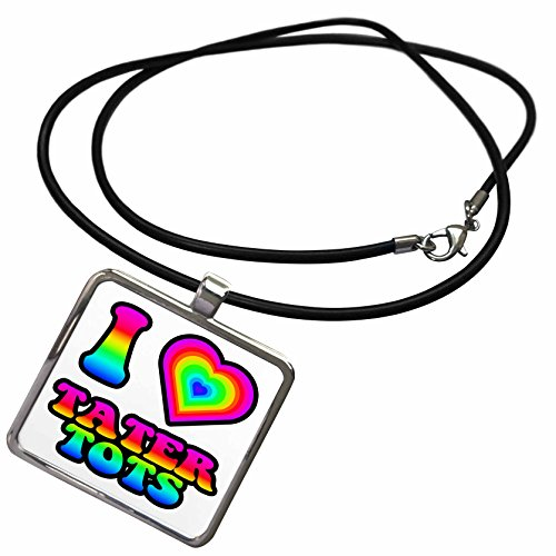 3dRose Dooni Designs - Groovy I Heart Love Designs - Groovy Hippie Rainbow I Heart Love Tater Tots - Necklace with Rectangle Pendant -