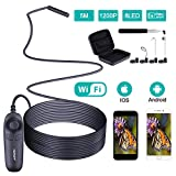 HUTACT Wireless Endoscope, 8 Adjustable LED WiFi Borescope Inspection Camera with Blue Light, 3 in 1 Endoscope WiFi Box, 5M 2.0 MP Snake Camera Semi-Rigid Cable for iPhone, Android and iOS Smartphone