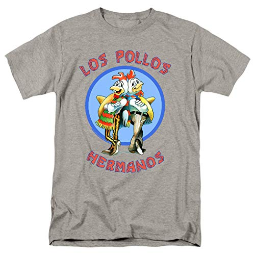Breaking Bad Los Pollos T Shirt & Exclusive Stickers (Small) Gray (Breaking Bad Women Tshirt)