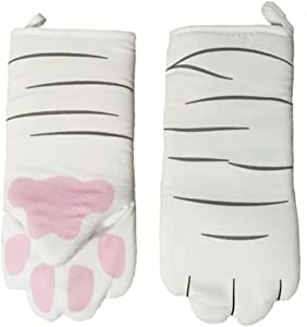 ZEROFEEL ven Mitts Kitchen Cotton Cute for Cooking, Baking, Grilling, Barbecue Cartoon Animal Cat Paws Oven Long Mitts Microwave Heat Resistant Non-Slip Gloves Cotton Baking Insulation Gloves