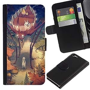 KLONGSHOP // Tirón de la caja Cartera de cuero con ranuras para tarjetas - Bug Kids Madre niños de la historieta - Apple Iphone 6 //