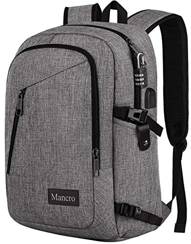 Laptop Backpack, Travel Water Resistant College School Bookbag for Women and Men, Slim Business Anti Theft Computer Bag with USB Charging Port Fits UNDER 17 In Laptop, Notebook by Mancro (Grey) ()