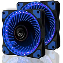 2 Pack LeaningTech LTC LitFlow 120mm 32 LED Quiet Long Life High Airflow Cooling PC Case fan for Computer Case, CPU Cooler and Radiator Blue