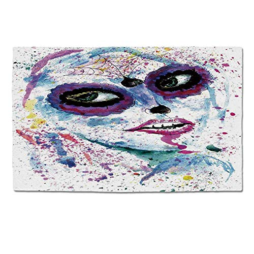 (YOLIYANA Girls Durable Door Mat,Grunge Halloween Lady with Sugar Skull Make Up Creepy Dead Face Gothic Woman Artsy for Home Office,One)