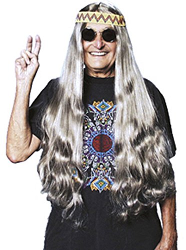Costume Culture 60's Long Hippie Wig with Headband, Grey, One Size -