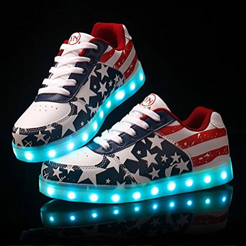 [Present:kleines Handtuch]JUNGLEST Blink Led Schuhe Sneakers Shoes Light Unisex Sport schuhe mit USB 7 Farbe USA Fla Rot