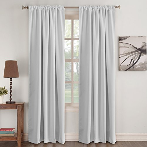 (Turquoize White Curtain Panels - Room Darkening Light Block Window Curtains Back Tab Slot Top Home Decoration Draperies Rod Pocket Curtains for Bedroom/Living Room, Greyish White, 52 by 96 inch)