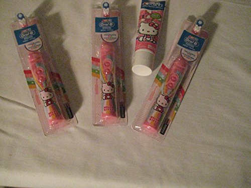 (Toothbrush Power Hello Kitty Tooth Brush (Timer) & Hello Kitty Princess Fruit Bubblegum Toothpaste)