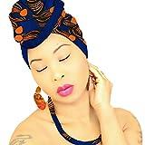 DESIGN 48 Blue Orange Head Wrap | 100% Cotton HEAD SCARF | Royal Head Wraps
