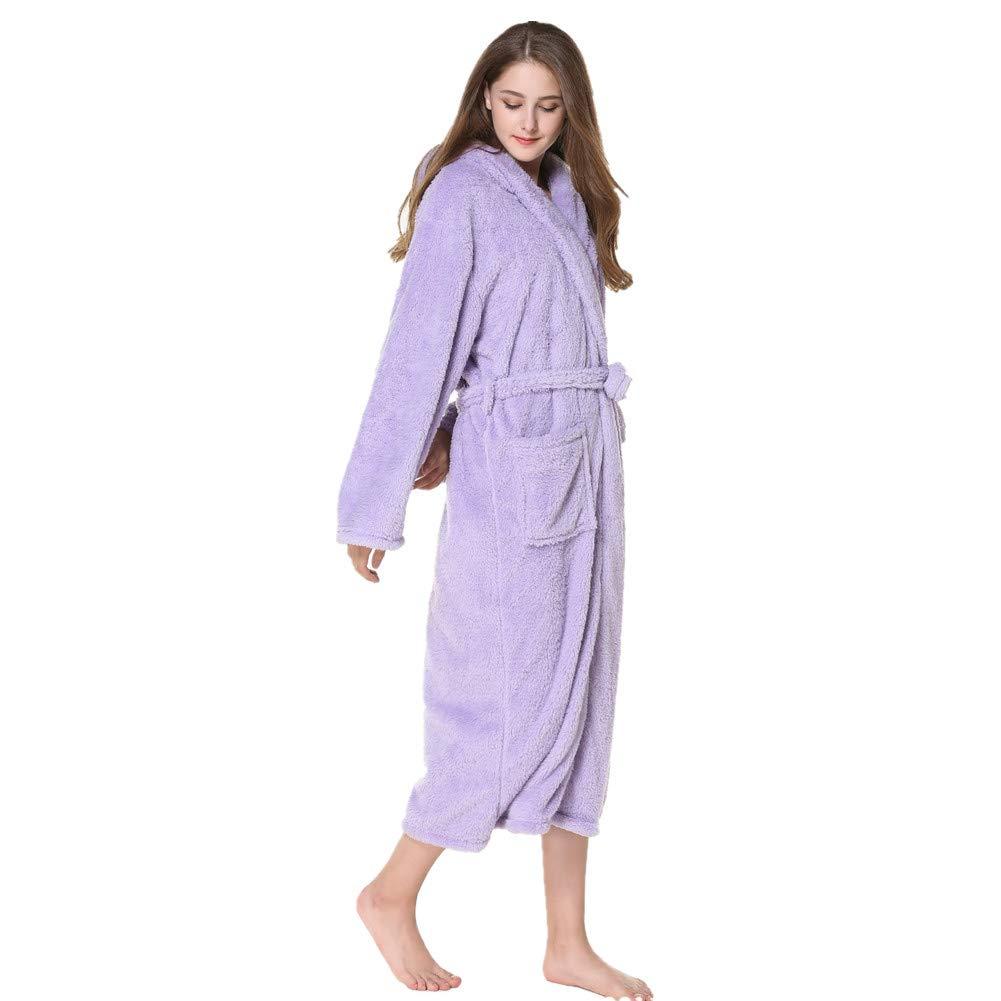 93b017f8cd KKING Women s Men s Full Length Fleece Hooded Robe Plus Size Super Soft