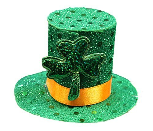 Lucky Leprechaun Mini Top Hat Saint Patrick's Day Hair Clip, One Size Fits All (Solid Green)]()