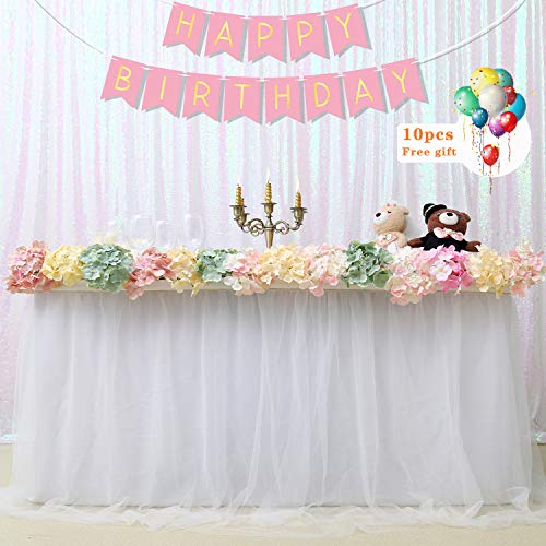 B-COOL Rectangle Tables Christmas Unicorn Decoration 3 Yards High end Gold Brim White Table Skirting Cloth White L9ft H 30in