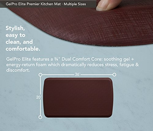 """GelPro Elite Premier Anti-Fatigue Kitchen Comfort Floor Mat, 20x36"""", Linen Cardinal Stain Resistant Surface with therapeutic gel and energy-return foam for health & wellness by GelPro (Image #3)"""