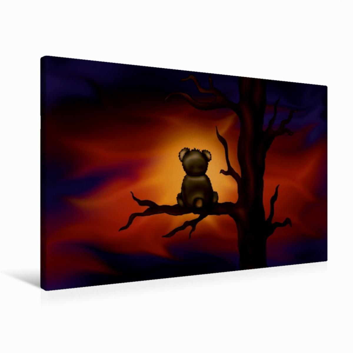Calvendo Premium Textil-Leinwand 90 cm x 60 cm Quer Teddybär bei Nacht   Wandbild, Bild auf Keilrahmen, Fertigbild auf Echter Leinwand, Leinwanddruck Kunst Kunst B01KVA7ZIS Klassische Puzzles Niedrige Kosten | Ausgezeichnet (in) Qualität