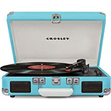 Crosley CR8005D-TU Cruiser Deluxe Portable Record Table 3-Speed Turntable with Bluetooth, Turquoise