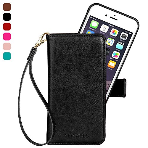 iphone 8 Plus Case, iphone 7 Plus Wallet Case, iPhone 6/6s Plus Leather Case, COCASES PU Leather Flio Stand Cover Magnetic with Card Slot Wristlet Strap for iPhone 8/7/6/6s Plus (5.5'' Black)