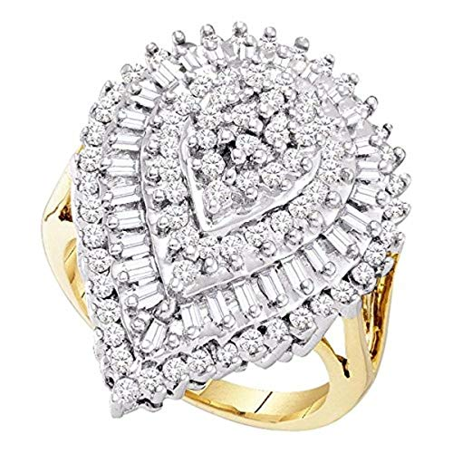 Roy Rose Jewelry 10K Yellow Gold Womens Round Baguette Diamond Teardrop Cluster Ring 1-Carat tw
