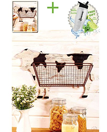 Gift Included- Barnyard Animal Country Farmhouse Themed Kitchen Storage & Organization Wall Baskets Cow + FREE Bonus Water Bottle by Homecricket by HomeCricket (Image #1)