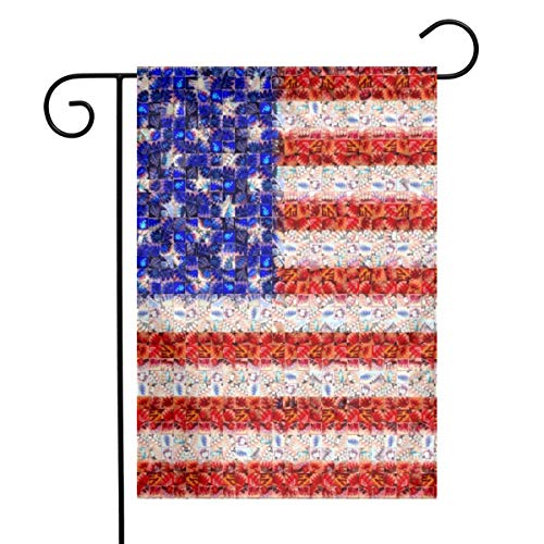 American Flag Mosaic Art Garden Flags House Indoor & Outdoor Holiday Decorations,Waterproof Polyester Yard Decorative for Game Family Party Banner