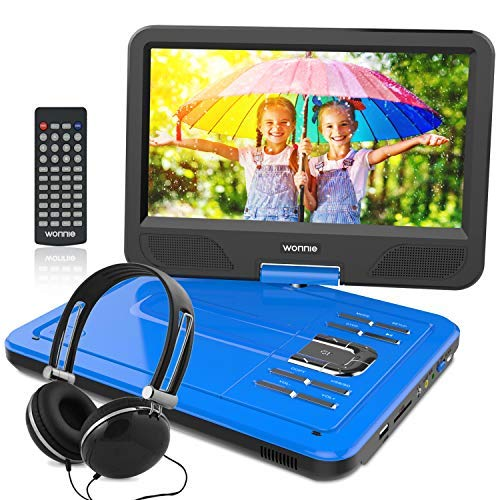 "WONNIE 12.5 Inch Portable DVD Player with 4 Hour Rechargeable Battery,10.5"" Swivel Screen, USB/SD Slot (BLUE) -  GM-W-U1038BL"