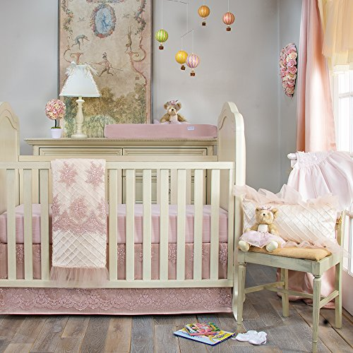 Crib Bedding Set Remember My Love by Glenna Jean | Baby Girl Nursery + Hand Crafted with Premium Quality Fabrics | Includes Quilt, Sheet and Bed Skirt with Pink and Ivory Accents - Glenna Jean Velvet Crib Skirt