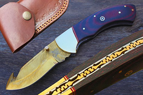 "3.4"" Titanium Coated Damascus Blade Custom GutHook Folding Knife w/Linen Micarta, File-Work, Liner Lock, Brass Bolster & Sheath UDK-C-H-248"
