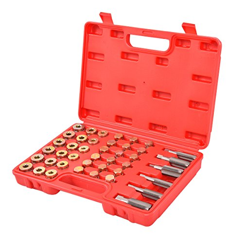 Goplus 114PCS Oil Pan Thread Repair Tool Set Sump Gearbox Drain Plug Key W/ Carry Case (Thread Repair Plastic)