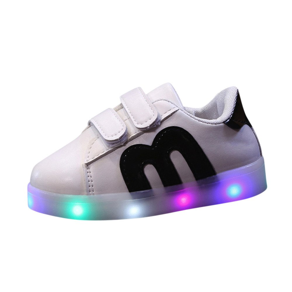 Fashion LED Light Sneakers,Toddler Children Star Luminous Flashing Rechargeable Colorful Light Shoes (Age:3.5-4, Black)