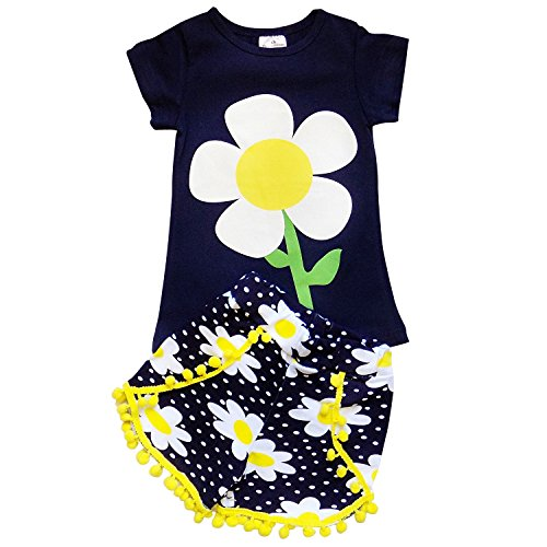 So Sydney Girls Toddler 2-4 Pc Novelty Summer Shorts Or Skirt Outfit & Accessory (XS (2T), Crazy Daisy Navy Pom) Skirt Set Daisy