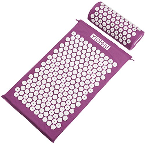 Acupressure Mat and Pillow Set for Back and Neck Pain Relief and Muscle Relaxation Relieves Stress, Back, Neck, and Sciatic Pain ()
