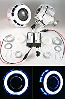 Mini v7.1 Bixenon Projectors For H1 Bulbs w/ Dual CCFL Chrome Shrouds PLUG AND PLAY H4 H7 BEST ON THE MARKET Headlight Retrofit Clear Lens