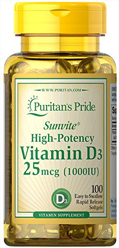 Puritans Pride Vitamin D3 1000 Iu Softgels, 100 Count